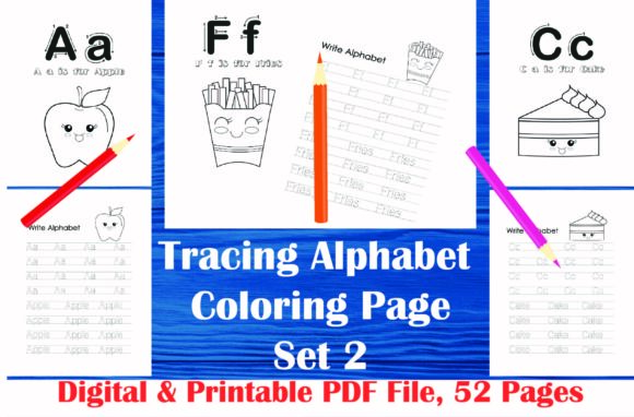 Tracing Alphabet Coloring Book Set 2 Graphic Coloring Pages & Books Kids By MidasStudio