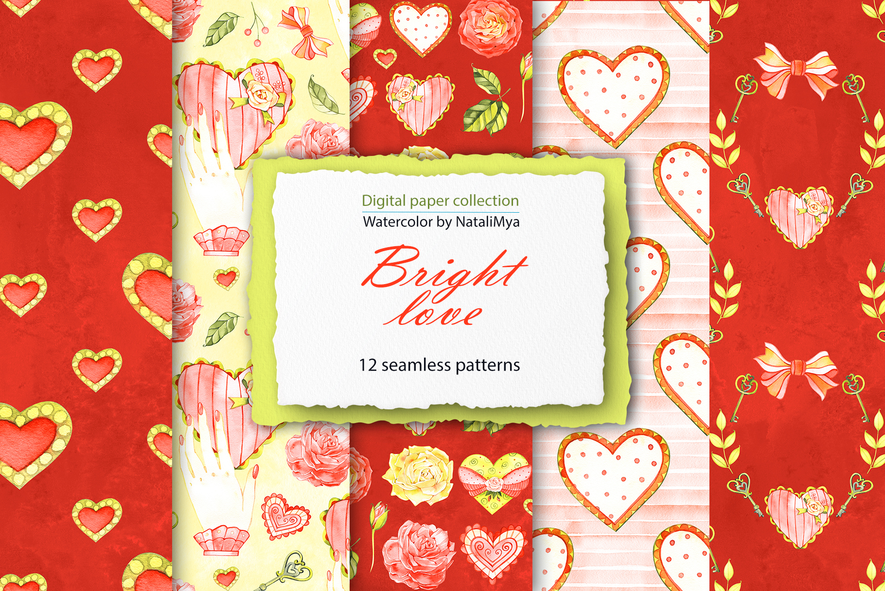 Download Free Watercolor Hearts Digital Paper Pack Graphic By Natalimyastore for Cricut Explore, Silhouette and other cutting machines.