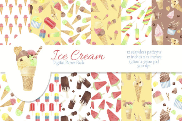 Print on Demand: Watercolor Ice Cream Digital Paper Graphic Patterns By s.yanyeva