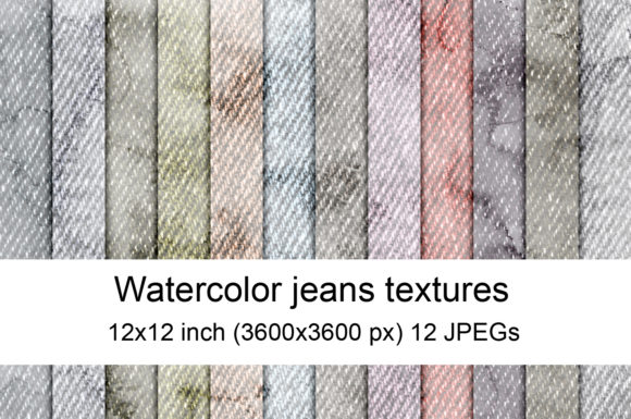 Print on Demand: Watercolor Jeans Textures Graphic Textures By Andrea Kostelic