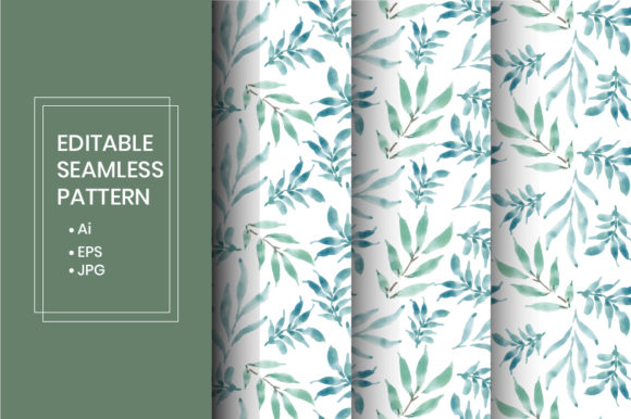 Download Free Watercolor Leaves Seamless Pattern Graphic By Iorozuya for Cricut Explore, Silhouette and other cutting machines.