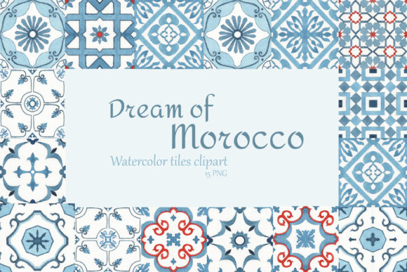 Print on Demand: Watercolor Moroccan Tiles Clipart Graphic Illustrations By s.yanyeva