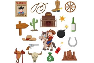 Wild West Western Clip Art Set Graphic Graphic Illustrations By tigatelusiji