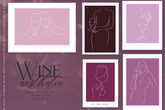 Wine Aesthetic Graphic Illustrations By BilberryCreate