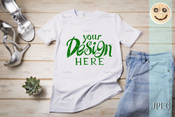 Download Free Women S T Shirt Mockup With Silver Heels Graphic By Tasipas for Cricut Explore, Silhouette and other cutting machines.