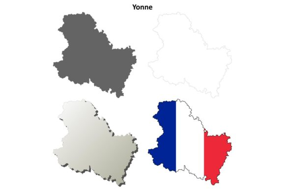 Yonne Outline Map Set Graphic Illustrations By davidzydd