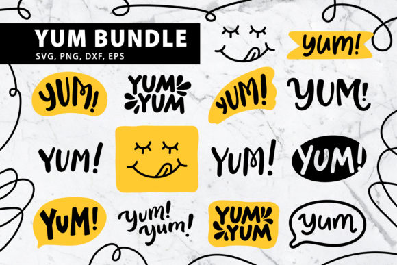 Download Free Yum Bundle Sute Doodle Style Graphic By Barriletters Creative for Cricut Explore, Silhouette and other cutting machines.