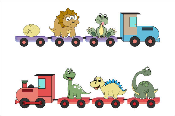 Download Free Adorable Dinosaur On The Train Graphic By Curutdesign Creative for Cricut Explore, Silhouette and other cutting machines.