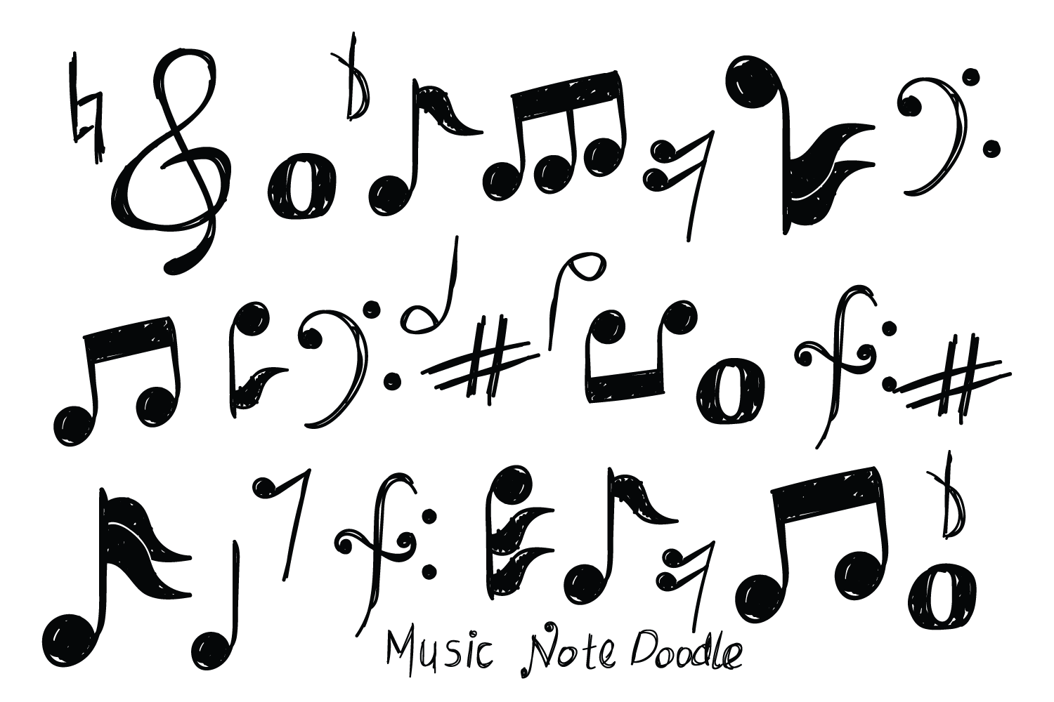 Download Free Set Of Music Doodle Vector Graphic By Bayfont Creative Fabrica for Cricut Explore, Silhouette and other cutting machines.