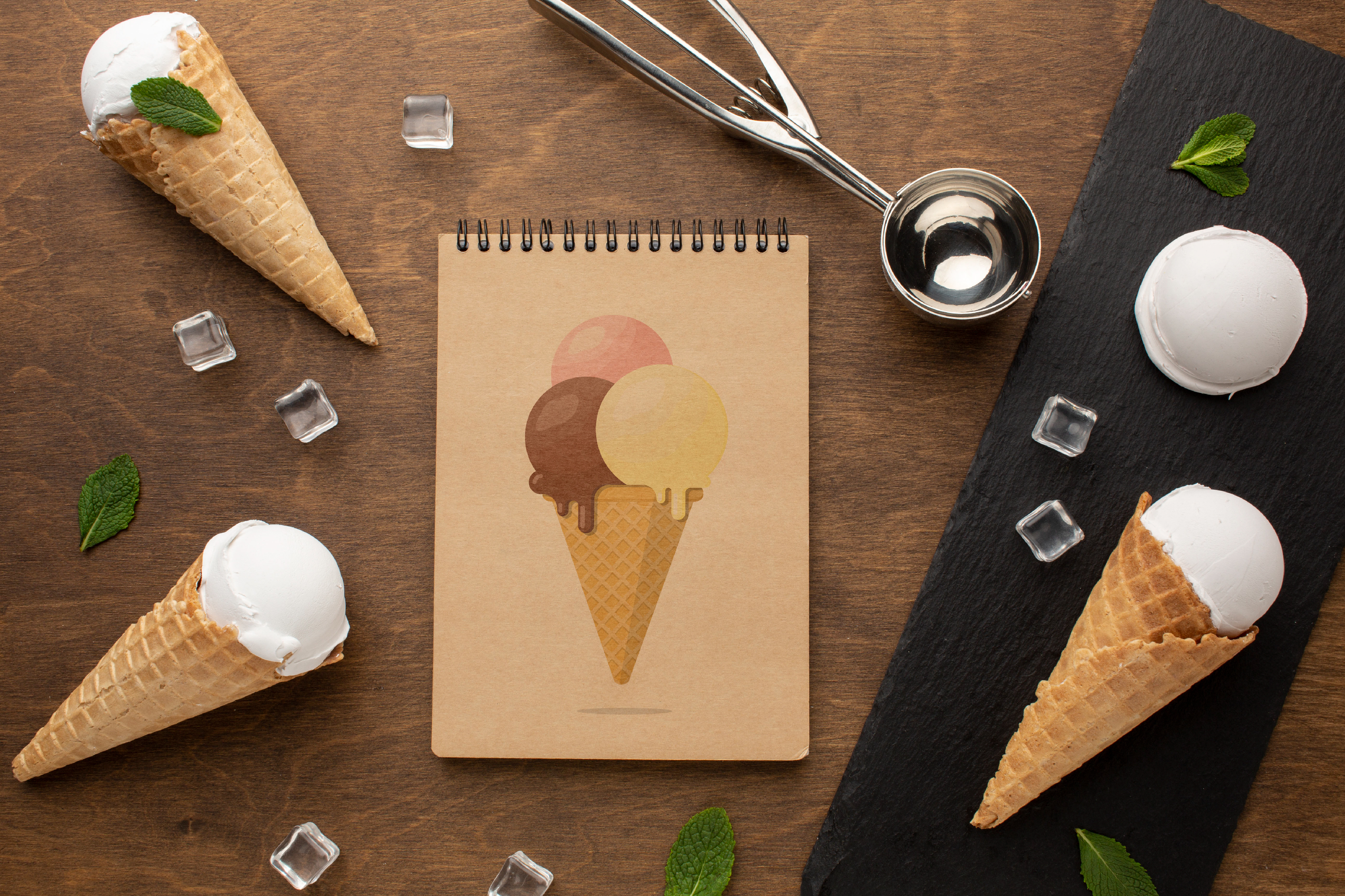 Download Free Sweet Ice Cream Scoop Cone Graphic By Sabavector Creative Fabrica for Cricut Explore, Silhouette and other cutting machines.