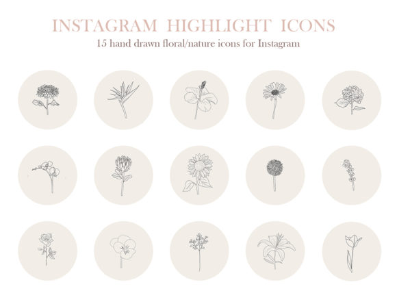 15 Hand Drawn Floral Instagram Icons Gráfico Iconos Por Masters of Mockups
