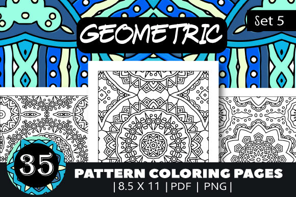 Print on Demand: 35 Geometric Pattern Coloring Set 5 Graphic Coloring Pages & Books Adults By JM_Graphics - Image 1