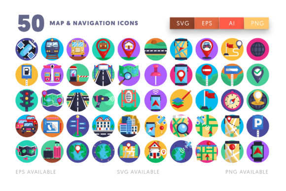 Download Free 50 Map Navigation Icons Graphic By Dighital Design Creative Fabrica SVG Cut Files