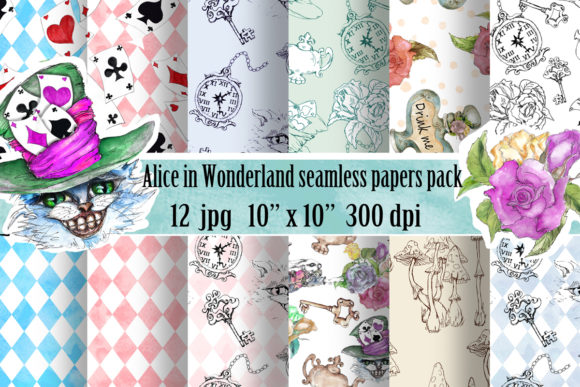Download Free Alice In Wonderland Patterns Pack Graphic By Arevkasunshine for Cricut Explore, Silhouette and other cutting machines.