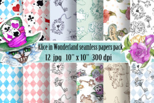 Alice in Wonderland Patterns Pack Graphic Patterns By arevkasunshine