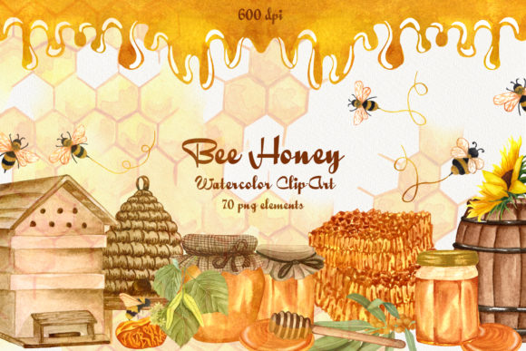 Bee Honey Watercolor Clip Art Graphic Illustrations By BarvArt - Image 1