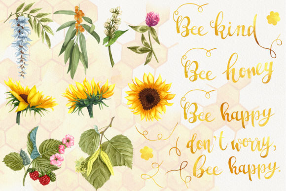 Bee Honey Watercolor Clip Art Graphic Illustrations By BarvArt - Image 3