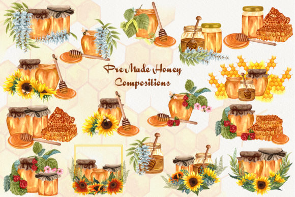 Bee Honey Watercolor Clip Art Graphic Illustrations By BarvArt - Image 4