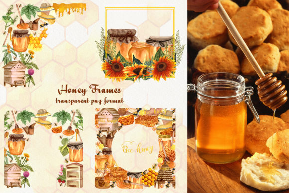 Bee Honey Watercolor Clip Art Graphic Illustrations By BarvArt - Image 9