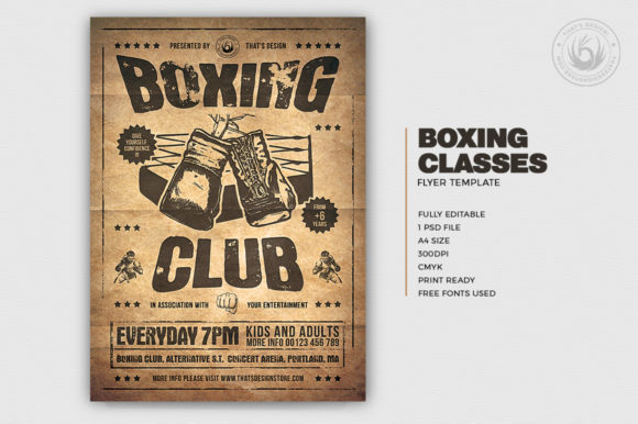 Download Free Boxing Classes Flyer Template V2 Graphic By Thatsdesignstore for Cricut Explore, Silhouette and other cutting machines.