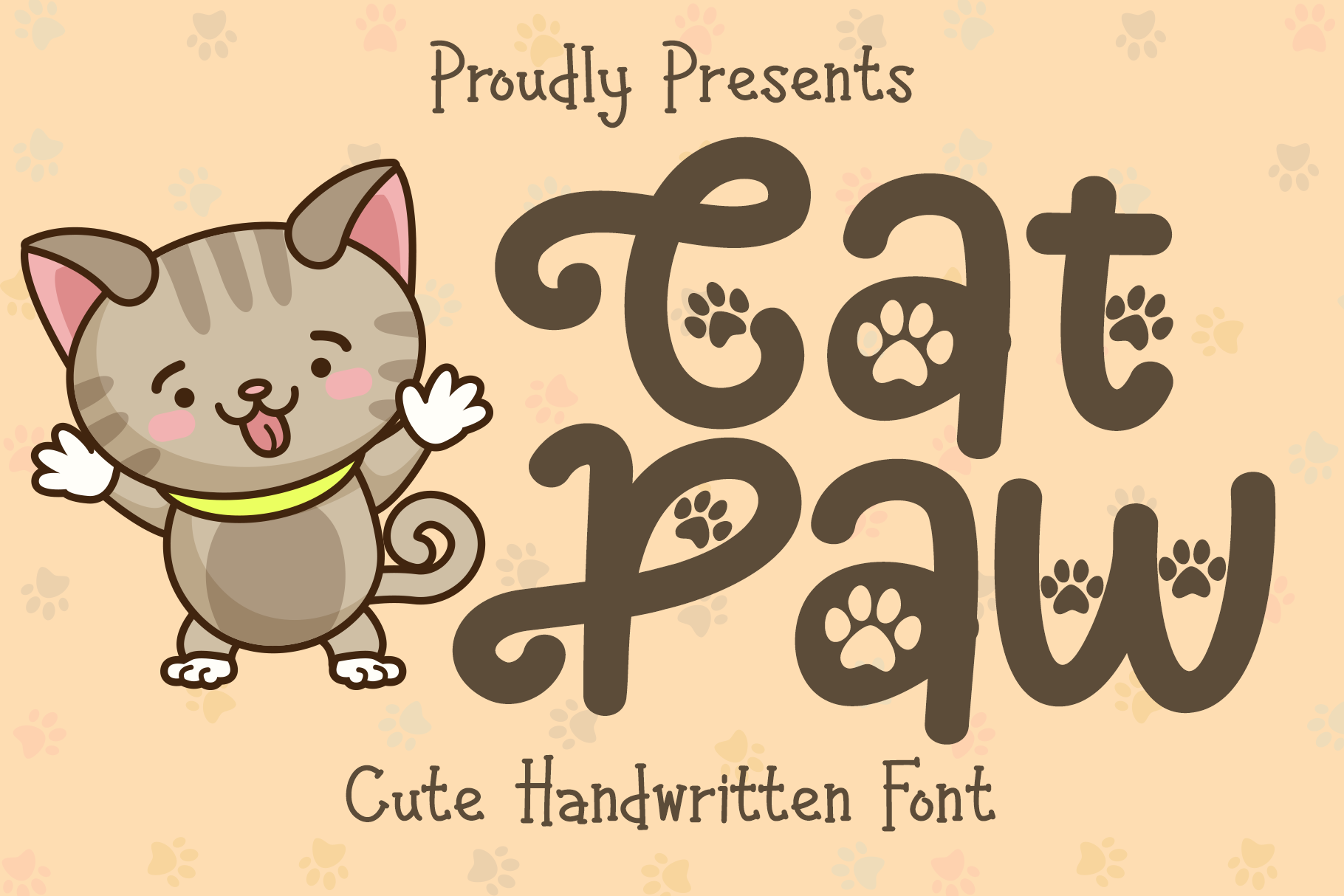 Download Free Cat Paw Font By Letterbeary Creative Fabrica for Cricut Explore, Silhouette and other cutting machines.