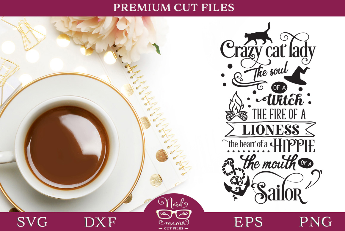 Download Free Crazy Cat Lady Cut File Graphic By Nerd Mama Cut Files for Cricut Explore, Silhouette and other cutting machines.