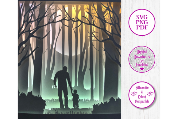 Download Free Dad With Child Woods 3d Paper Cut Graphic By Jumbleink Digital for Cricut Explore, Silhouette and other cutting machines.