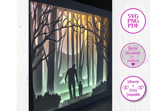 Dad With Child Woods 3d Paper Cut Graphic By Jumbleink Digital Downloads Creative Fabrica