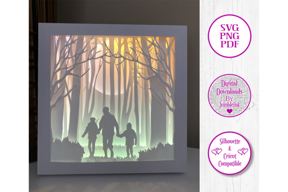 Dad with Children 3D Shadow Box Graphic 3D Shadow Box By Jumbleink Digital Downloads