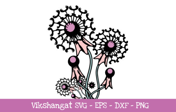 Download Free Dandelion Flower Vintage Cut Files Graphic By Vikshangat for Cricut Explore, Silhouette and other cutting machines.