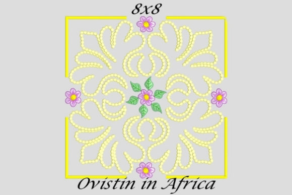Delicate Square Twirly Quilt Block and Flower Sewing & Crafts Embroidery Design By Ovistin in Africa