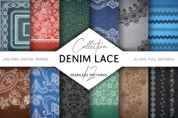 Denim & Lace Digital Collection Graphic Patterns By digitalEye