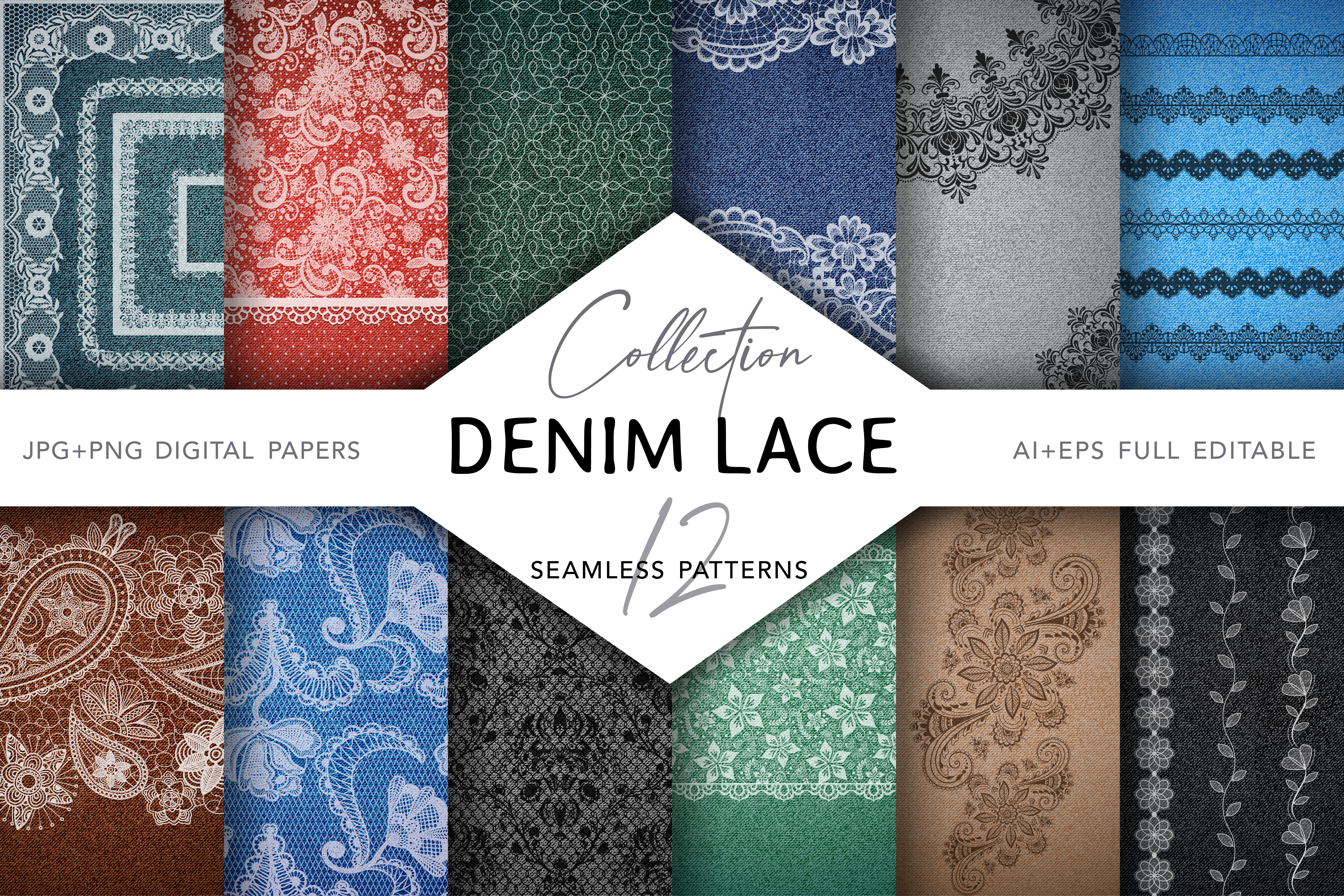 Download Free Denim Lace Digital Collection Graphic By Digitaleye Creative for Cricut Explore, Silhouette and other cutting machines.