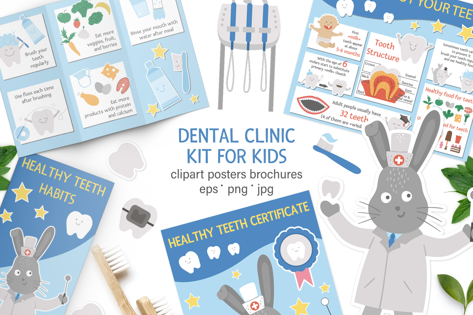 Download Free Dental Clinic Kit Graphic By Lexiclaus Creative Fabrica for Cricut Explore, Silhouette and other cutting machines.