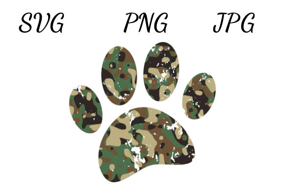 Download Free Distressed Camo Dog Paw Print Graphic By Almdrs Creative Fabrica for Cricut Explore, Silhouette and other cutting machines.