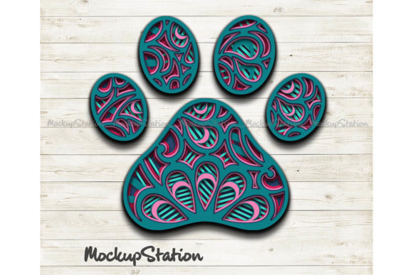 Print on Demand: Dog Paw 3D Layered Mandala   Grafik 3D SVG von Mockup Station