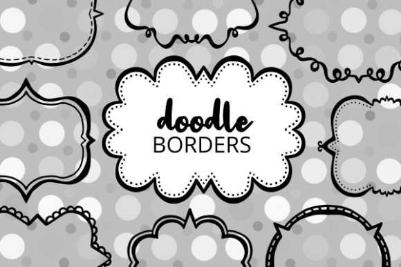 Print on Demand: Doodle Border Banner Frames Cut Files Grafik Plotterdateien von Prawny