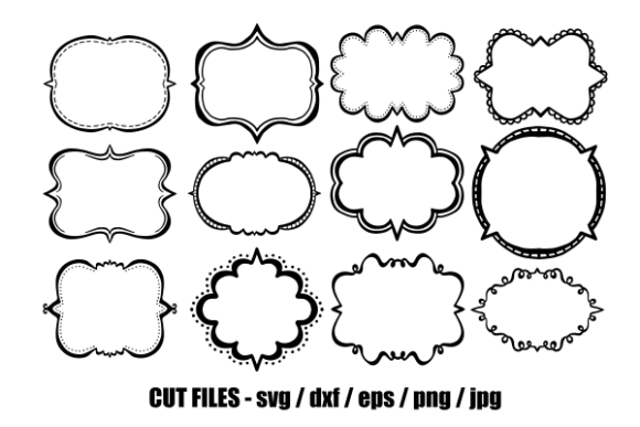 Download Free Doodle Border Banner Frames Cut Files Graphic By Prawny for Cricut Explore, Silhouette and other cutting machines.