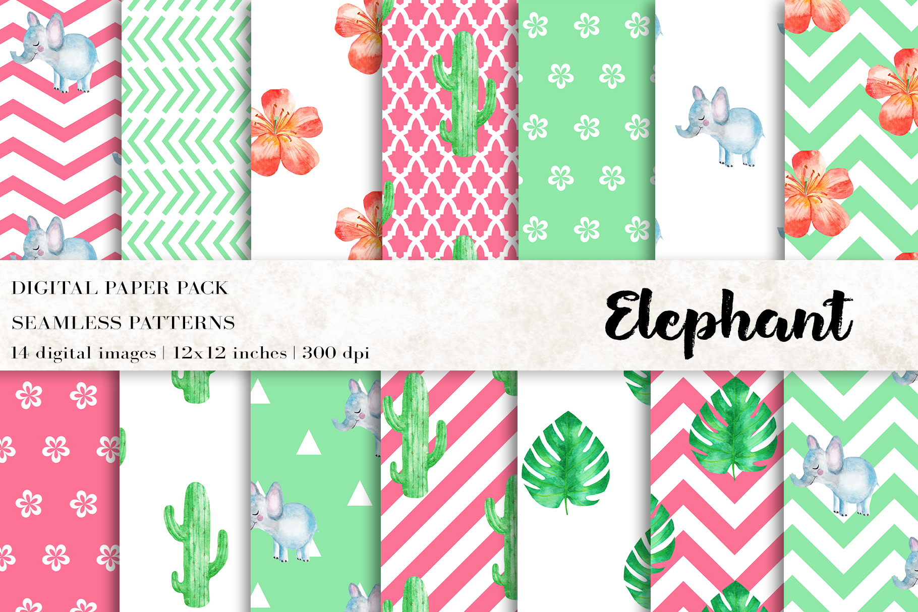 Download Free Elephant Digital Papers Graphic By Bonadesigns Creative Fabrica for Cricut Explore, Silhouette and other cutting machines.