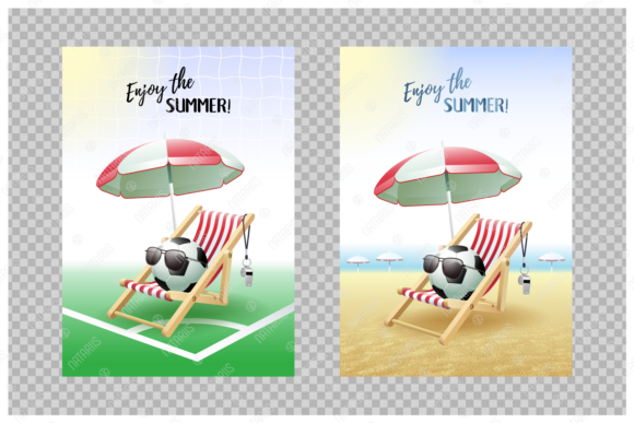Enjoy the Summer! 2 Sport Cards. Soccer. Graphic Illustrations By Natariis Studio