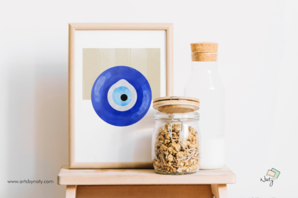 Download Free Evil Eye Printable Art Abstract Painting Graphic By Artsbynaty for Cricut Explore, Silhouette and other cutting machines.