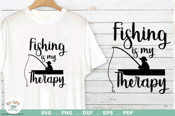Download Free Fishing Quote Fishing Is My Therapy Graphic By Redearth And Gumtrees Creative Fabrica for Cricut Explore, Silhouette and other cutting machines.