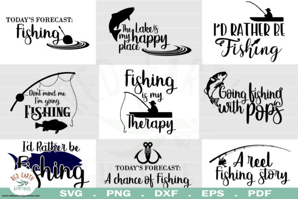 Download Free Fishing Quotes Bundle Graphic By Redearth And Gumtrees for Cricut Explore, Silhouette and other cutting machines.