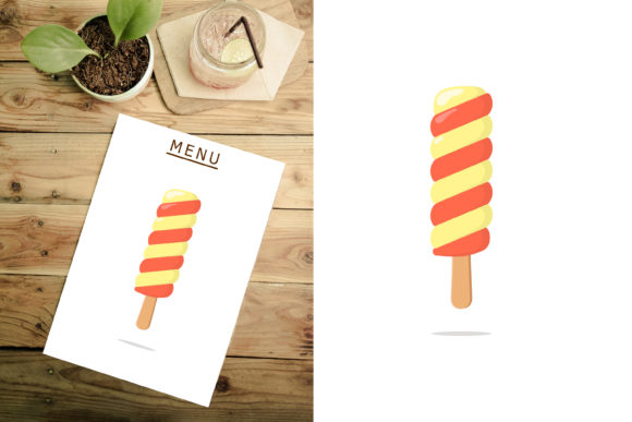 Download Free Flat Twist Ice Cream Stick Design Graphic By Sabavector for Cricut Explore, Silhouette and other cutting machines.