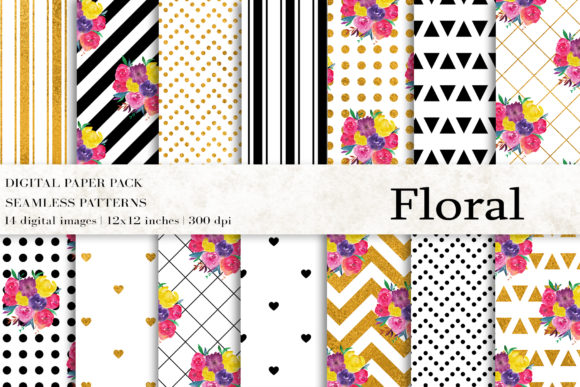 Floral Digital Papers Graphic Patterns By BonaDesigns