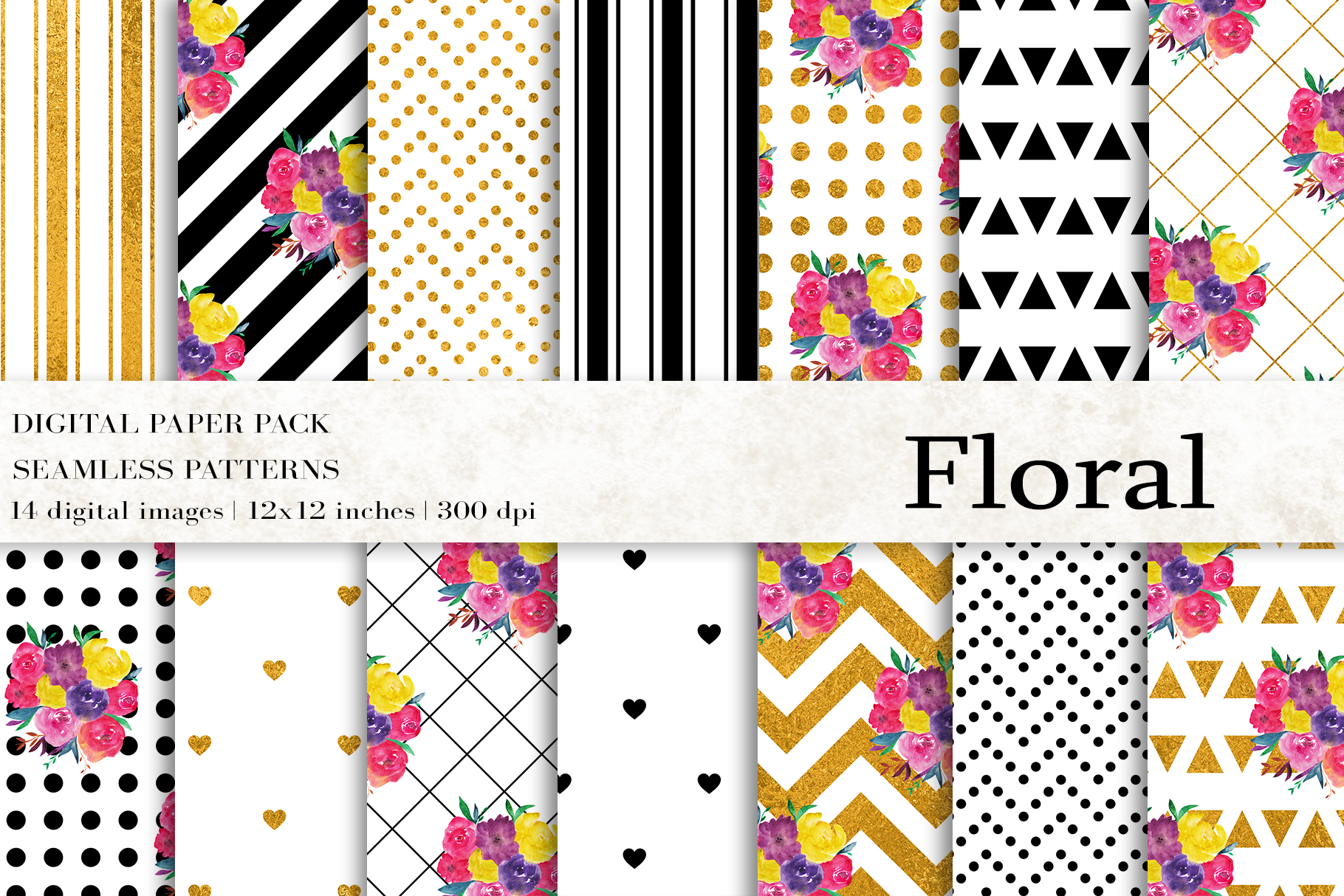 Download Free Floral Digital Papers Graphic By Bonadesigns Creative Fabrica for Cricut Explore, Silhouette and other cutting machines.