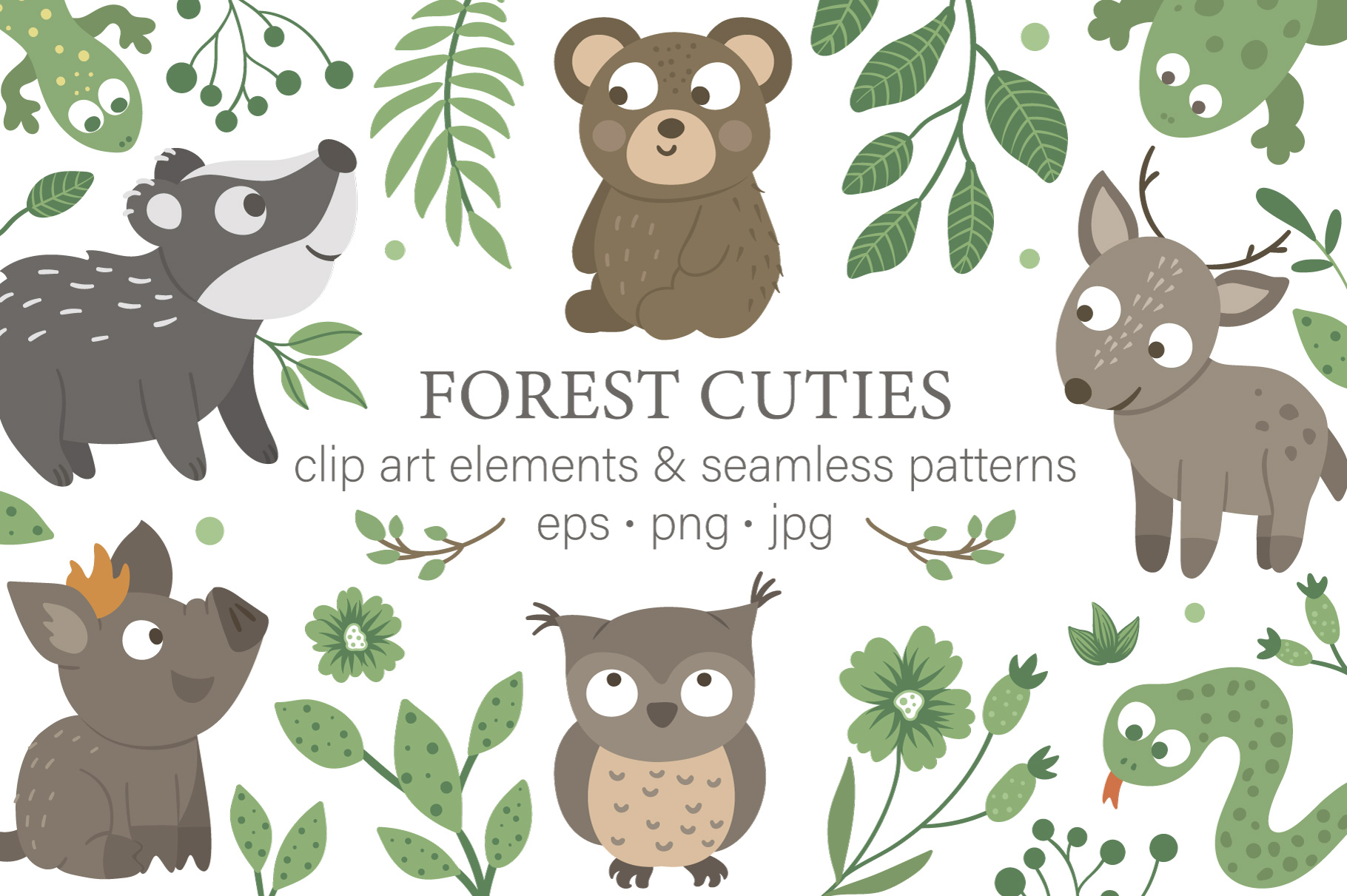 Download Free Forest Cuties Graphic By Lexiclaus Creative Fabrica for Cricut Explore, Silhouette and other cutting machines.