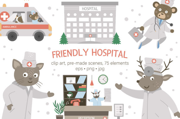 Friendly Hospital Graphic Illustrations By lexiclaus