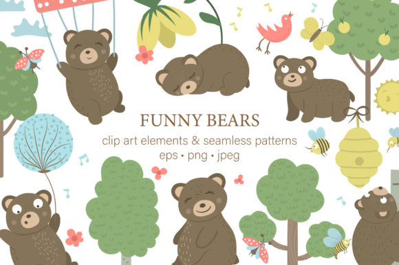 Funny Bears Graphic Illustrations By lexiclaus