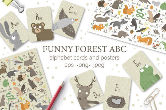Download Free Funny Forest Abc Graphic By Lexiclaus Creative Fabrica for Cricut Explore, Silhouette and other cutting machines.